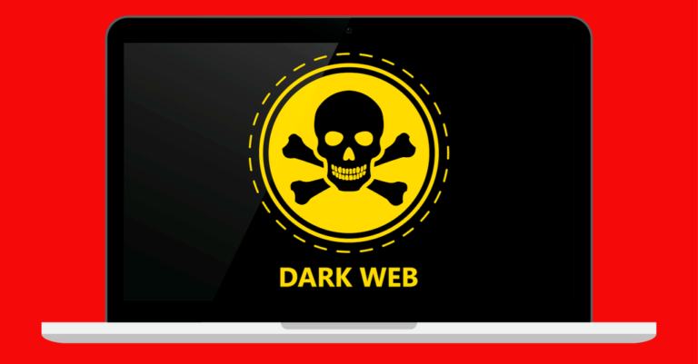 a black laptop screen with a yellow skull and crossbones and the words dark web