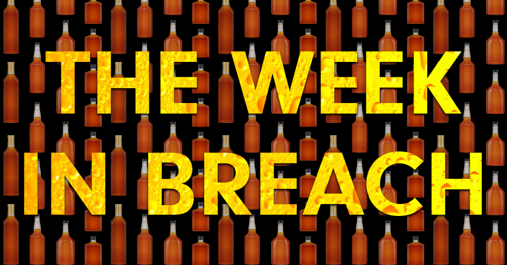 """the Week in Breach"" in yellow superimposed over a back background with small brown liquor bottles tiled across it"