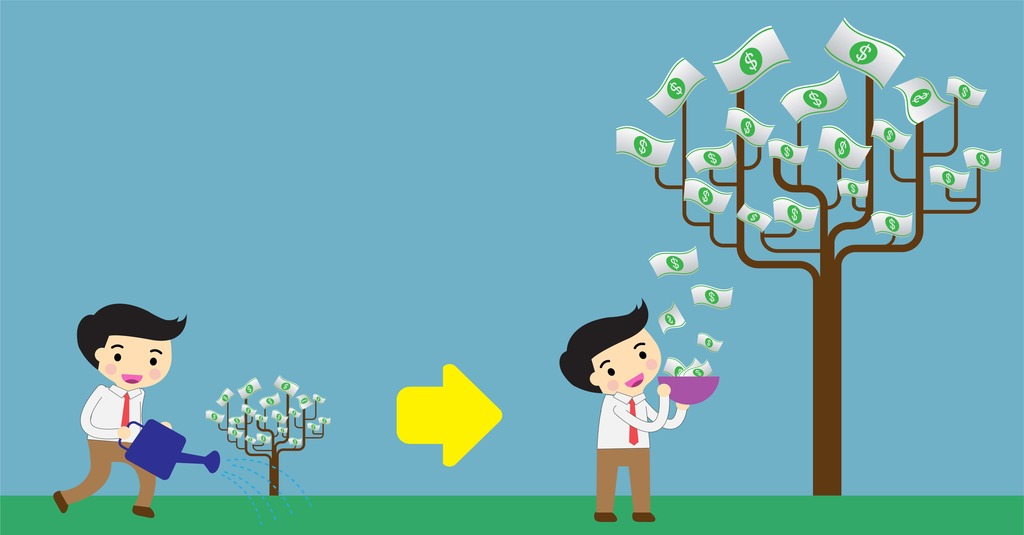 grow msp mrr illustrated by a man watering a small tree and harvesting money from a bigger tree