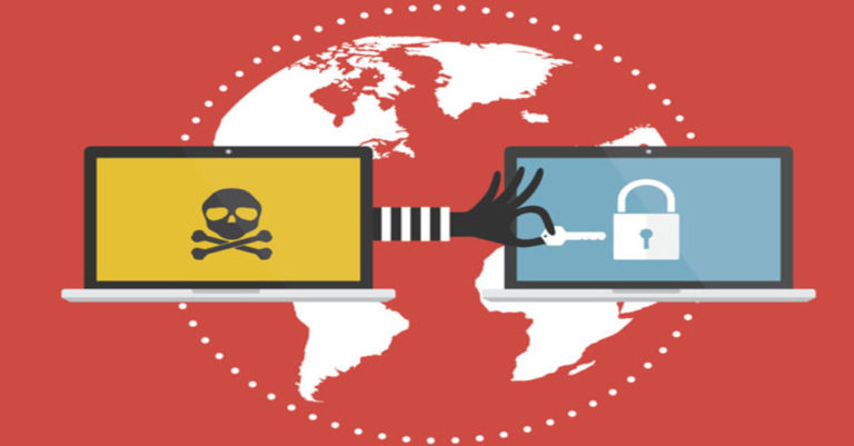 ransomware protection presented as a hand with a key reaching from one laptop screen over another over a world flat map in red and white