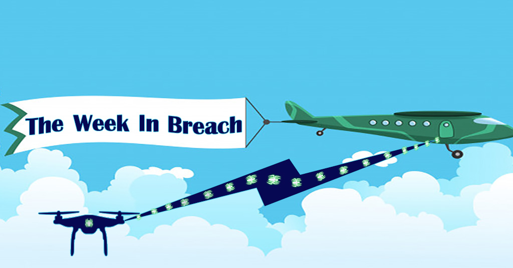 "a green 1050's style plane pulls a banner that says ""The Week in Breach "" while a small alien-looking drone flies underneath of it, beaming a ray of cybersecurity bugs into the plane."