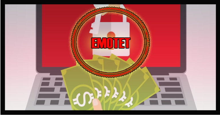 emotet ransomware illustrated by someone handoing money to someone else with a key.